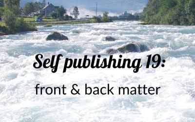 self-publishing 19: front & back matter